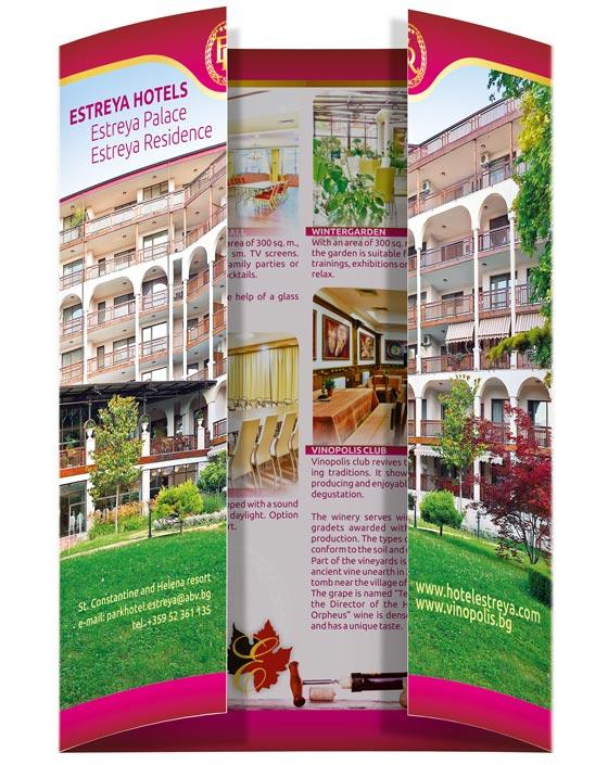 Дипляна на ESTREY HOTELS, вид сгъване - gate fold