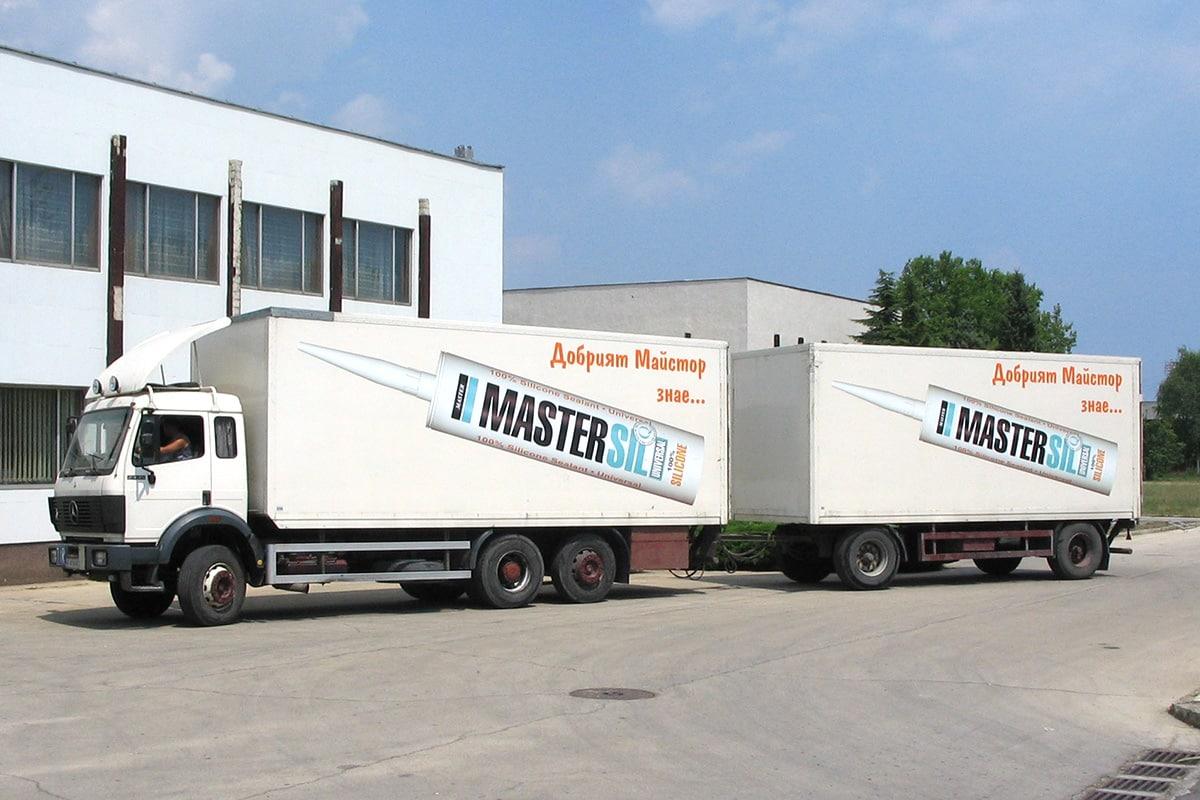 Камион с ремарке, брандирани с широкоформатен печат - Мастер