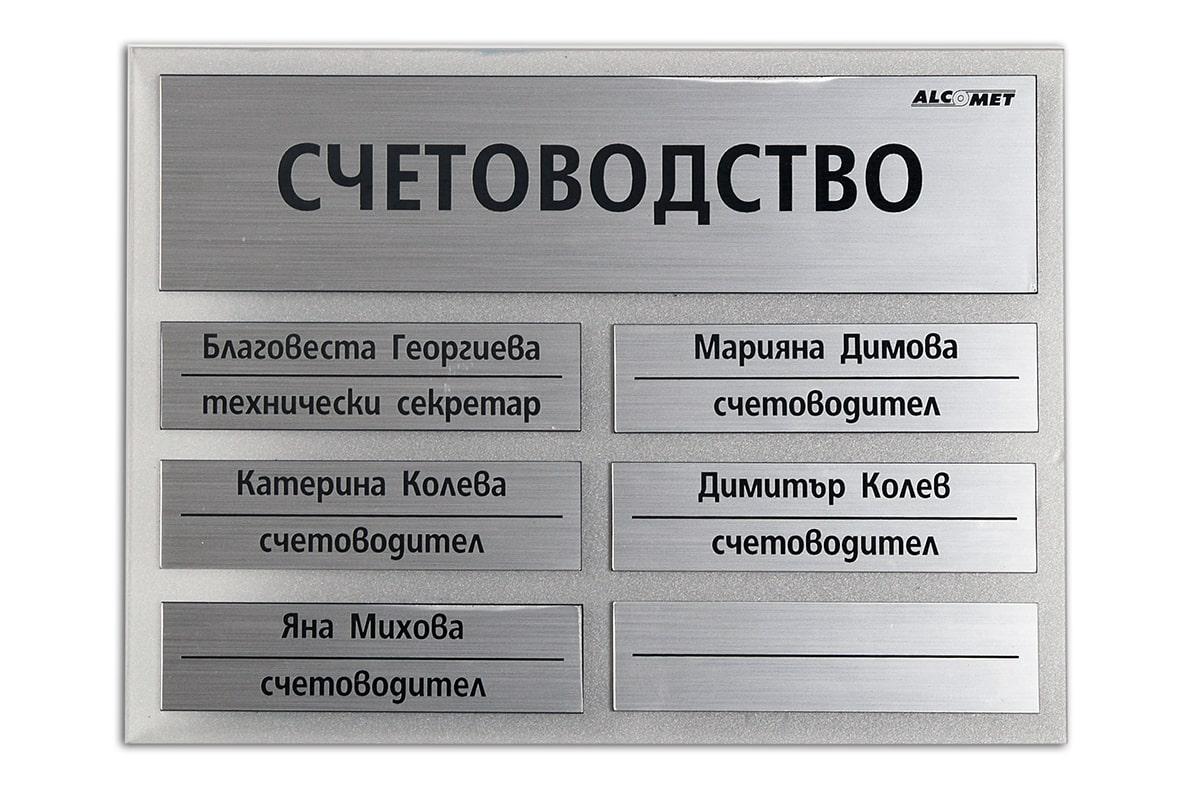 Табела помещение Счетоводство