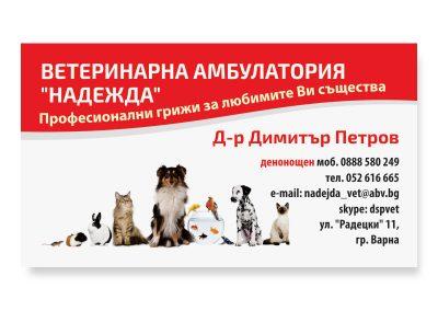 визитки на ветеринарен кабинет