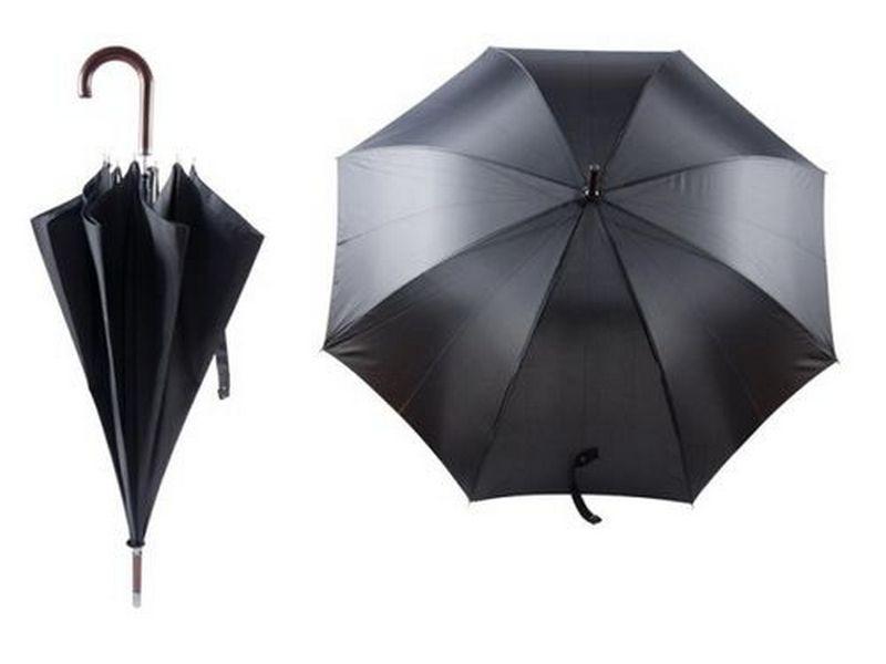 черен рекламен автоматичен чадър с дървена дръжка