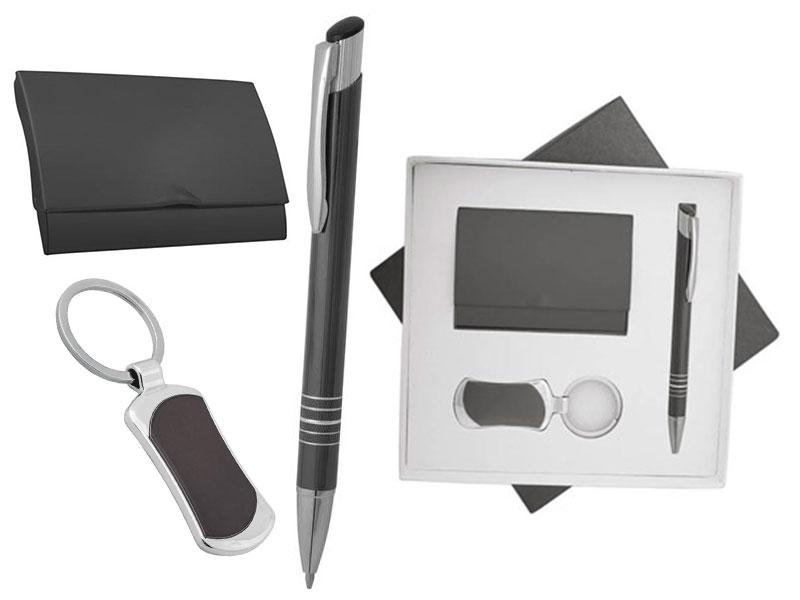 рекламен комплект с химикалка, визитник и ключодържател