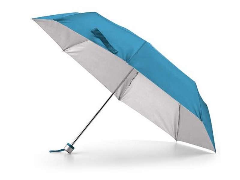 светло син дамски сгъваем чадър за реклама
