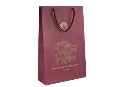 брандирани торбички с логото на икономически университет варна