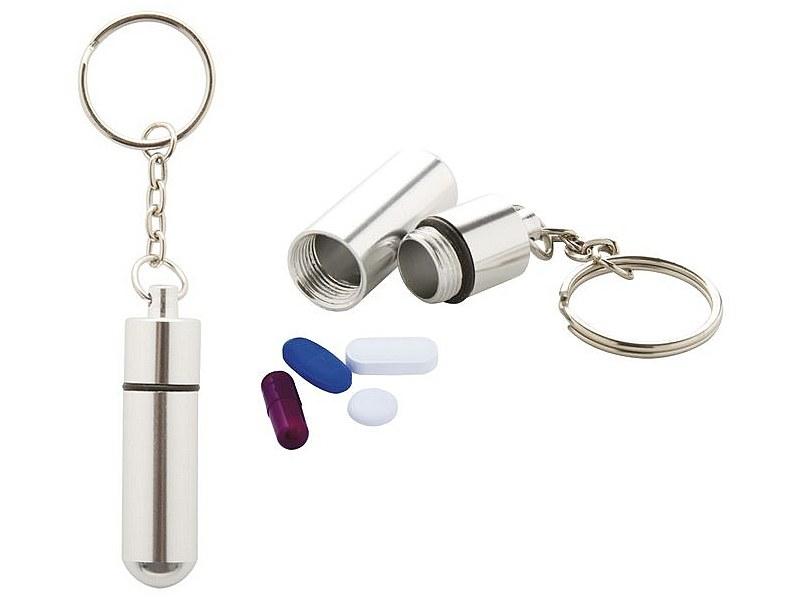 ключодържател с метално контейнерче за хапчета