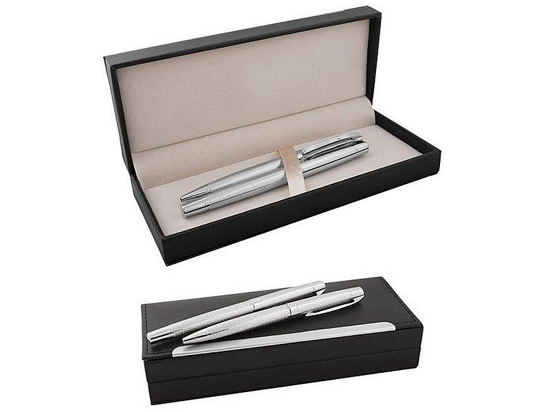 Комплект химикалка и ролер в кутия от еко кожа и метал