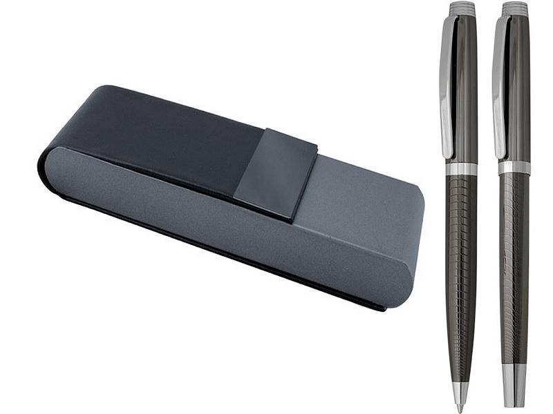 комплект химикалка и ролер, цвят графит