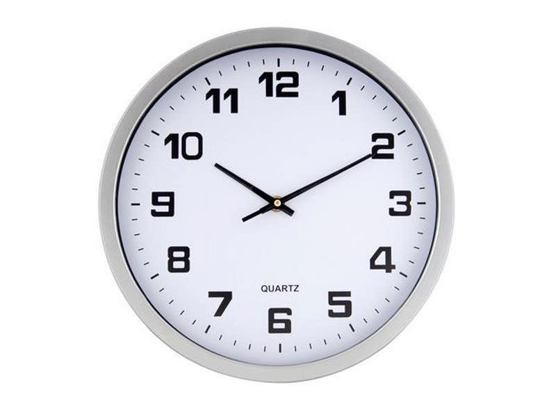 сребърен стенен часовник с Ф300 мм