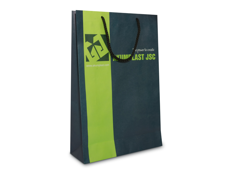 подаръчна фирмена торбичка с лого на акумпласт в два цвята