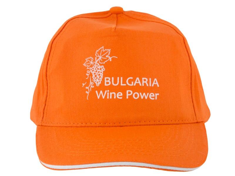 оранжева шапка с рекламен надпис