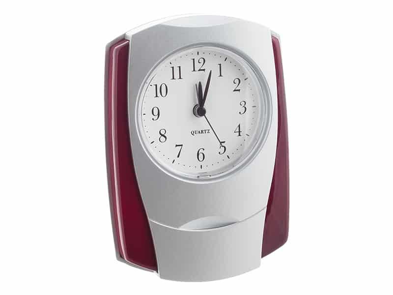 настолен часовник с аларма, цвят махагон и сребро