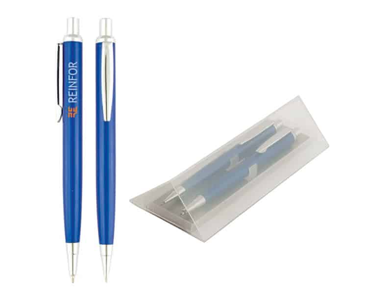 химикалка и автоматичен молив в кутия за гравиране
