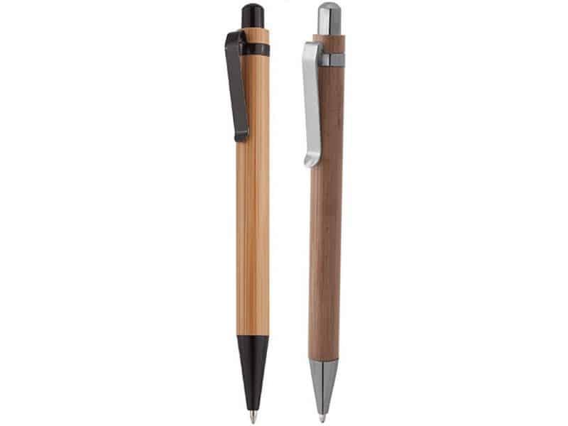 бамбукови химикалки със сребърен и черен клипс