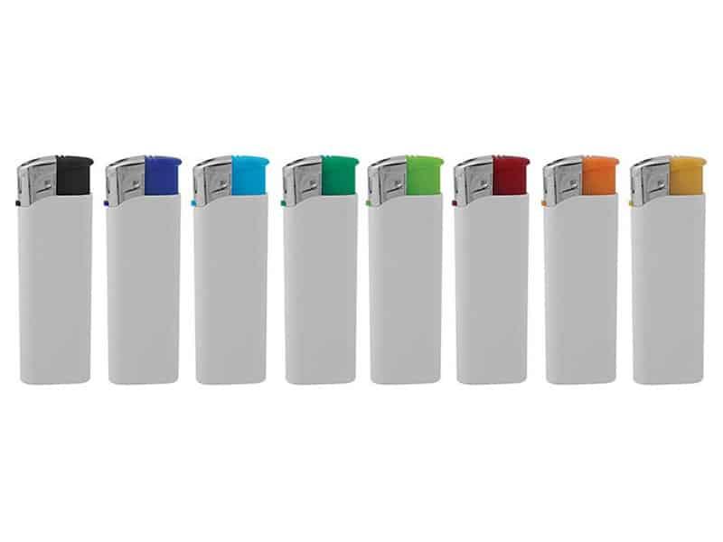пластмасови запалки с бяло тяло и цветни дюзи