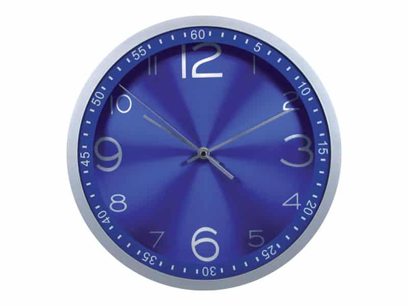 стенен часовник, син метален циферблат