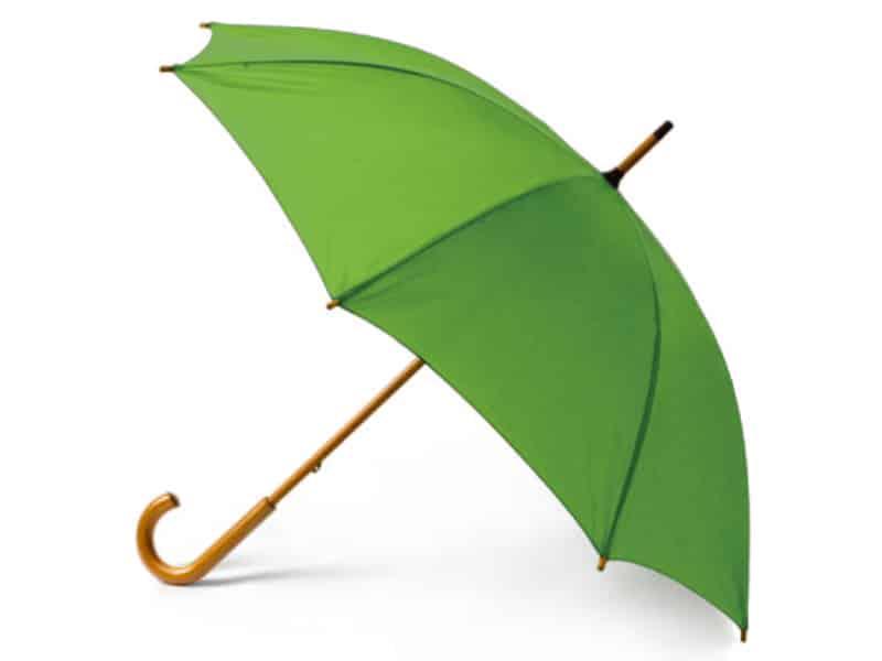 зелен рекламен чадър с дървена дръжка