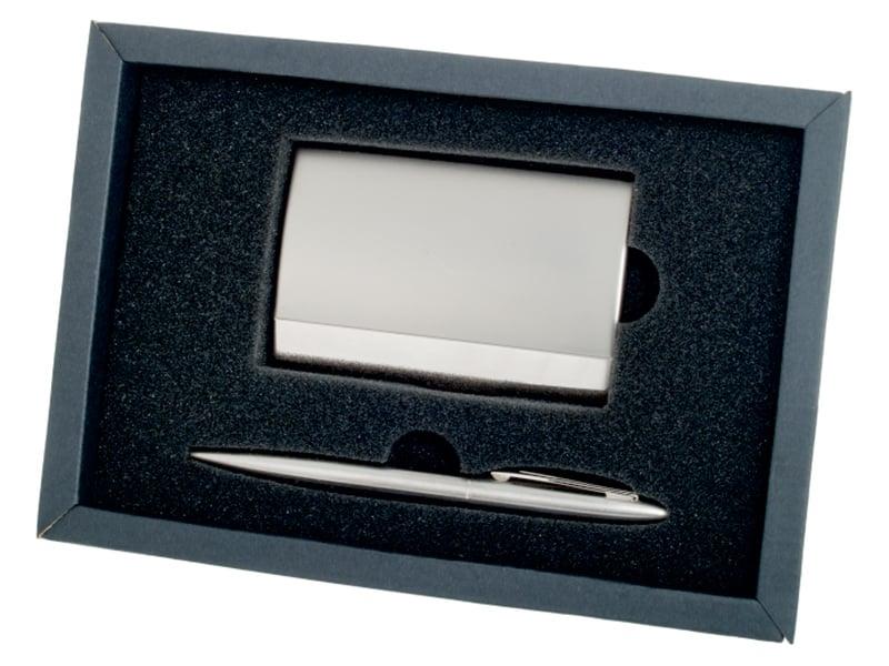 комплект химикал и визитник, метални, в подаръчна кутия