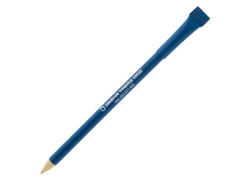 еко химикалка от рециклирана хартия с капачка и лого на Девня трейд