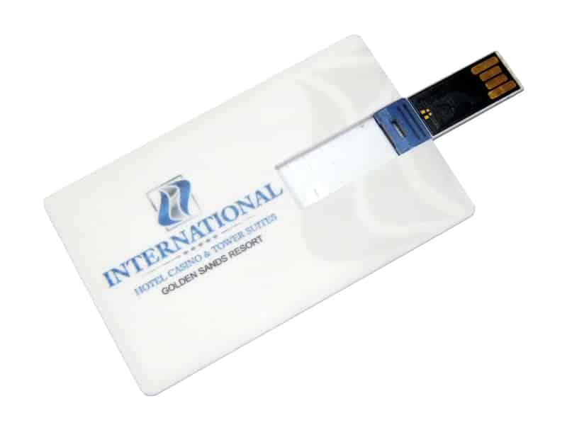 бяла флаш памет с печат на лого на хотел Интернационал