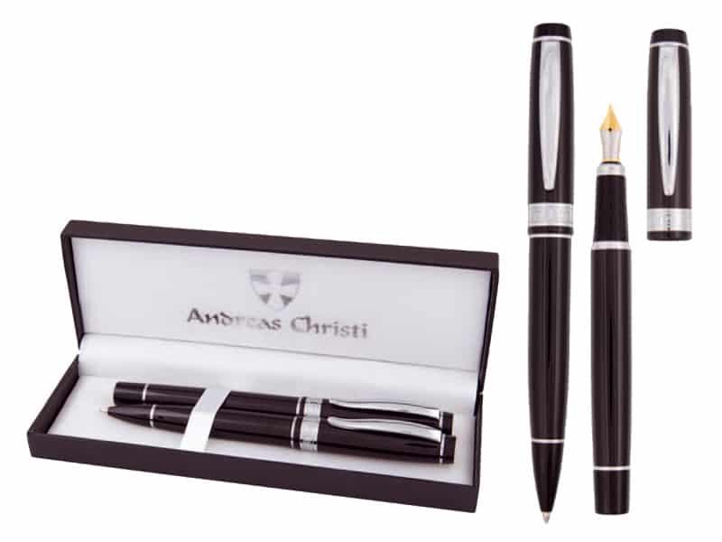 метална писалка и химикалка в кутия