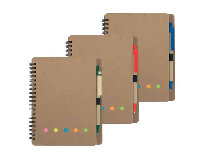 еко бележник от рециклирана хартия с индекси за отбелязване и цветна еко химикалка
