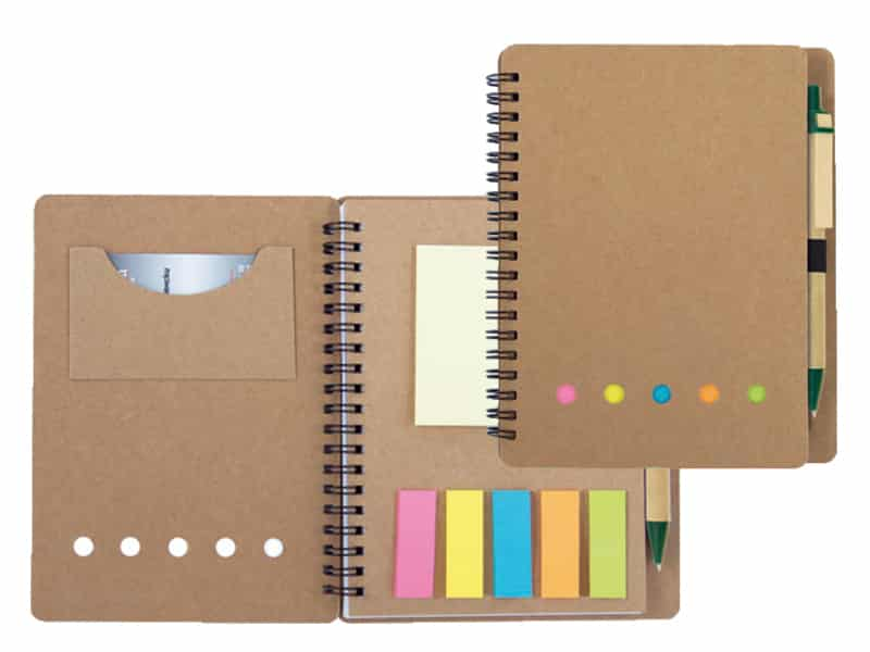 eко бележник с планер, самозалепващи се индекси и химикалка