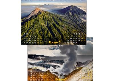 Изображение на два многолистни календара един под друг, с по два месеца на лист и снимки на природен пейзаж на фона.