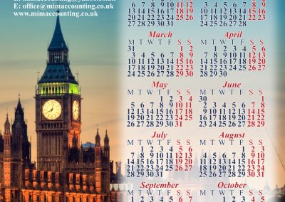 poster calendar for MiM Accounting Servisess, London 2014