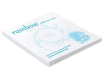 Рекламно кубче за бележки с логото на rainbow