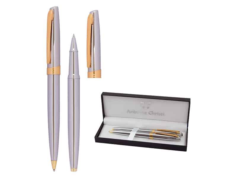 метални химикалка и ролер в кутия подходящи за лазерно гравиране
