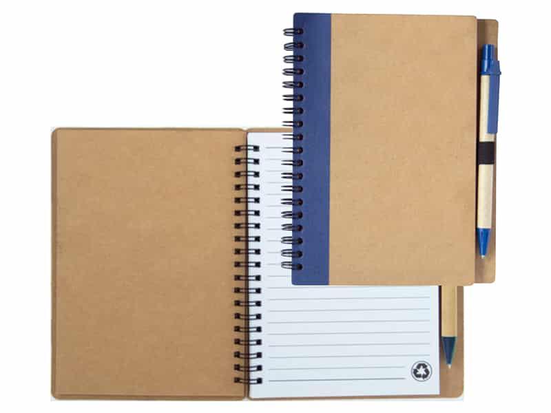 eко бележник с еко химикалка от рециклирана хартия