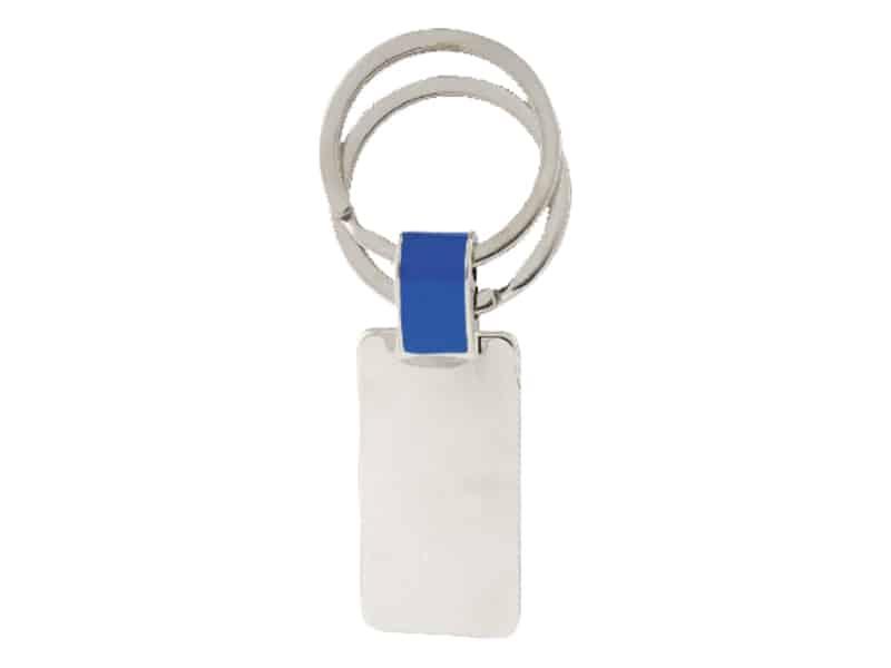 метален ключодържател сребро с цвят син