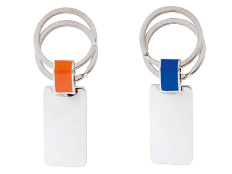 метални ключодържатели с два ринга с цвят сребро