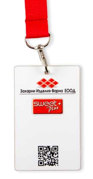 Баджове с връзка за врата и печат на QR код, изработени за захарни изделия варна
