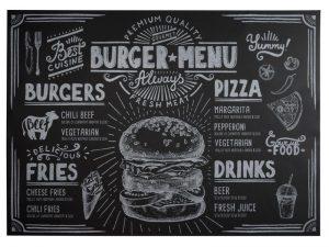 хартиени подложки за сервиране, черни с бял печат за Burger menu