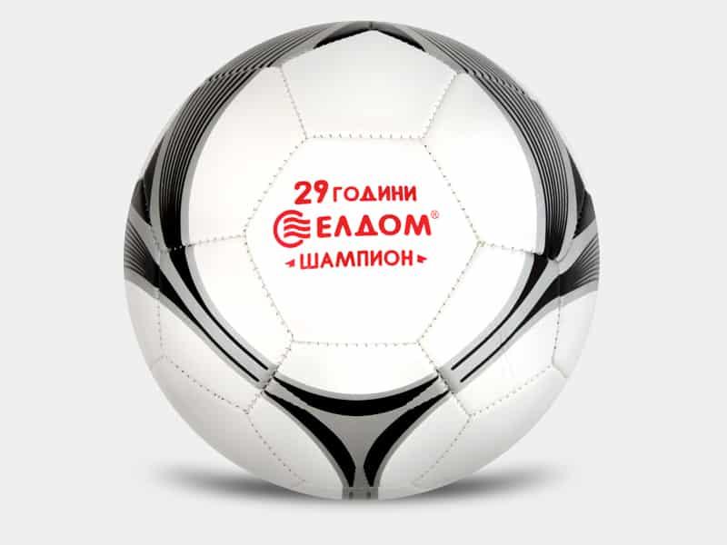 футболна топка с рекламен надпис