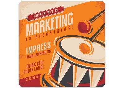 брандирана с IMPRESS подложка за чаша в ретростил, като рекламен подарък