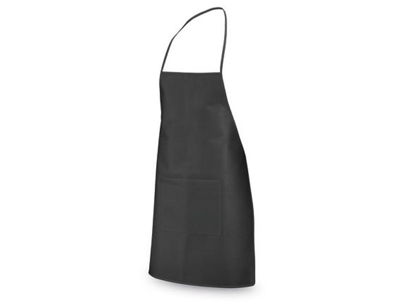 готварска престилка с джоб от нетъкан текстил, черна