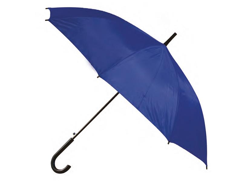 син рекламен чадър от шантунг с извита пластмасова дръжка