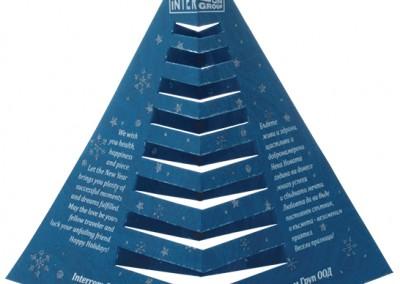 Щанцована картичка за интерком във формата на елхичка