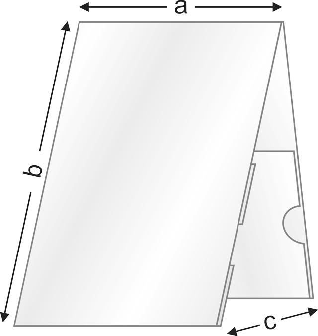 Чертеж с измерения на плексигласова поставка за етикети от серията VP