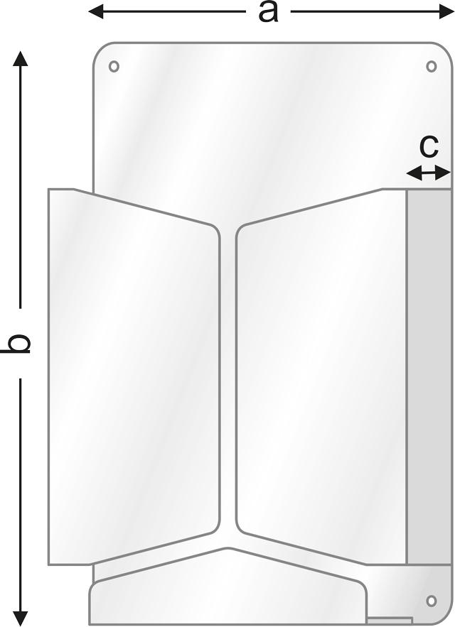 чертеж с размери на поставка за брошури, серия FW, за стенна или за информационно табло