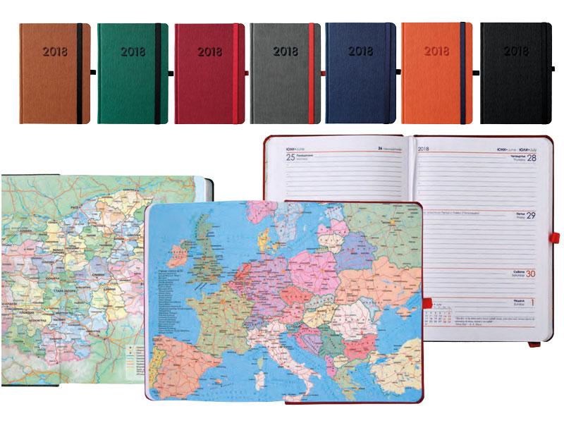 календар бележници с ластик, закръглени ъгли и държач за химикалка
