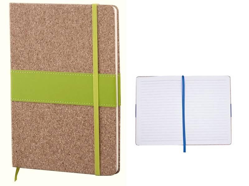 Еко бележник с корица от корк и зелена лента