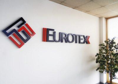 Интериорна реклама чрез плътни обемни боядисани букви, Eurotex