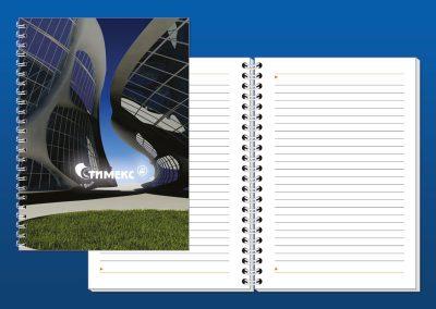 Тефтер с твърди ламинирани корици с реклама на фирма Стимекс, формат B5