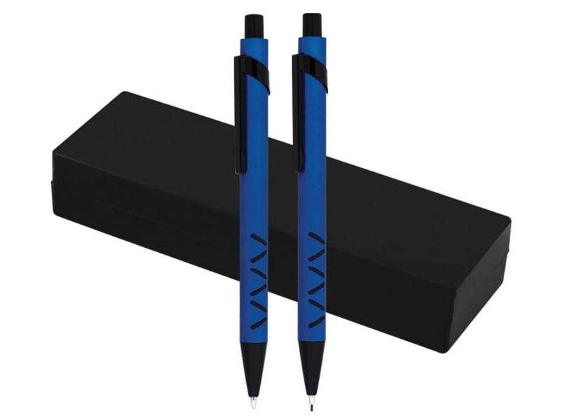 сини химикалка и молив с черни елементи, с кутия
