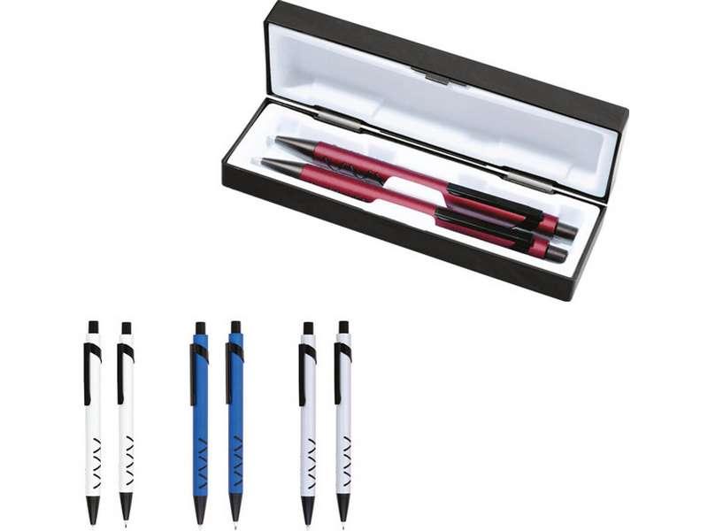 комплекти химикалка и молив в пластмасова кутия
