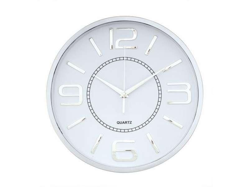 кръгъл стенен часовник със sweep механизъм, сребриста рамка и хромирани цифри