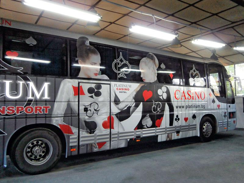 Цялостно облепен автобус (vehicle wrap) - PLatinum Casino